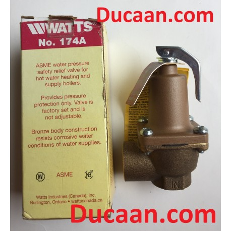 "Watts 174A Boiler Pressure Relief Valve, 3/4"", 30PSI"