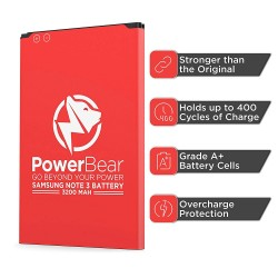 PowerBear Note 3 Battery (3200 mAh) Li-Ion Battery for Galaxy Note 3