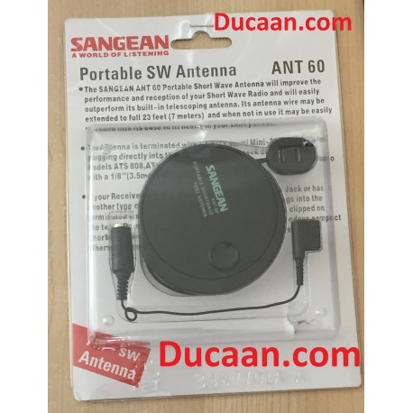 Sangean ANT60/ANT-60 Portable AM Shortwave reel Antenna w/3.5mm plug & Clip