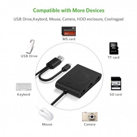 UGREEN OTG Hub 3 Ports USB 2.0 OTG Card Reader